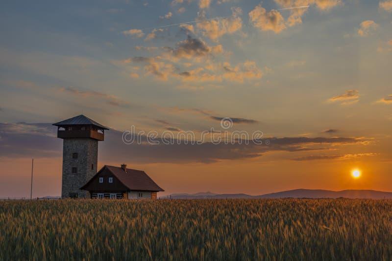 Färga solnedgången nära den Roprachtice byn med observationstornet royaltyfri bild
