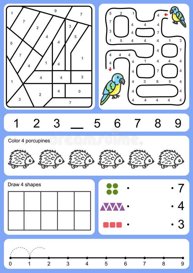 Färga, spåra, matcha och dra objekt av numret stock illustrationer