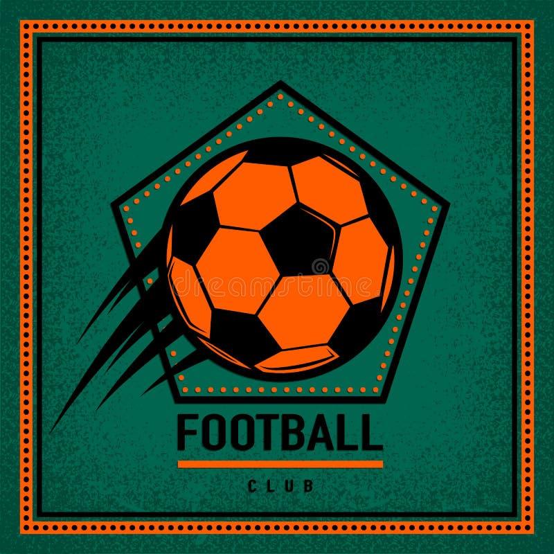 Färga tappning och det retro logoemblemet, mall för etikettfotbollklubba med flygfotbollbollen stock illustrationer