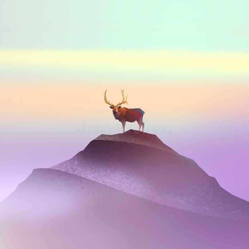 Färga teckningen av en hjort på berget stock illustrationer