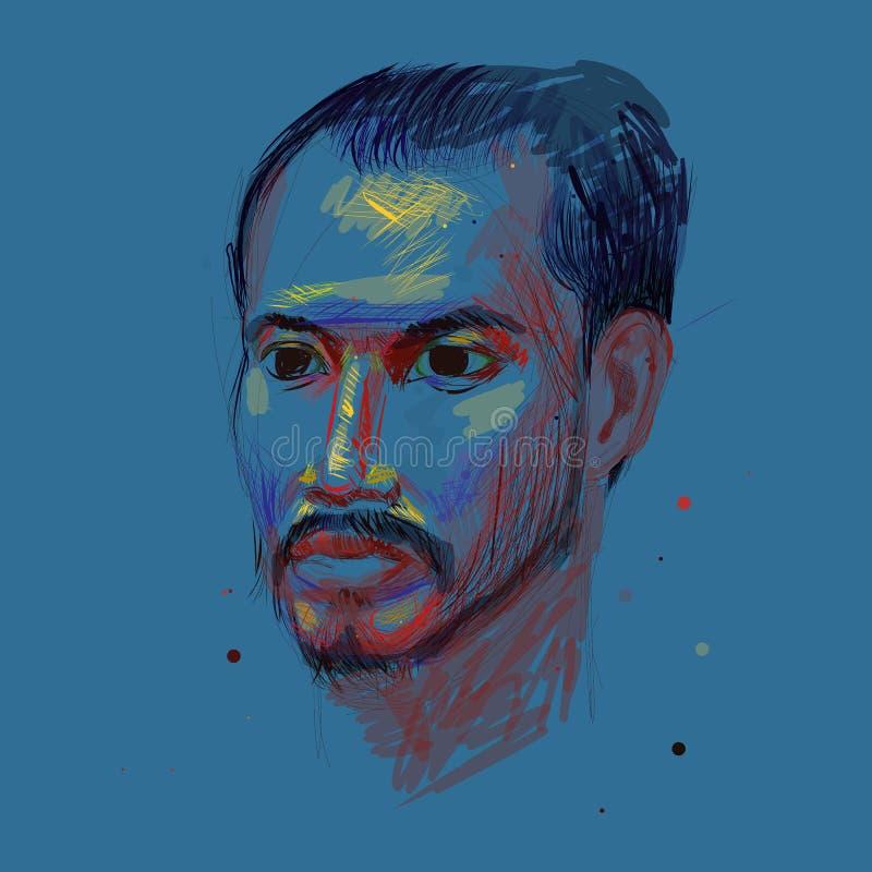 Färga teckningen av oidentifierat av den asiatiska manståenden på blått stock illustrationer