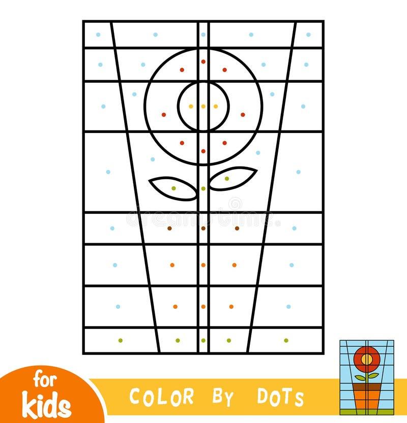 Färga vid prickar, spela för barn, blomma royaltyfri illustrationer