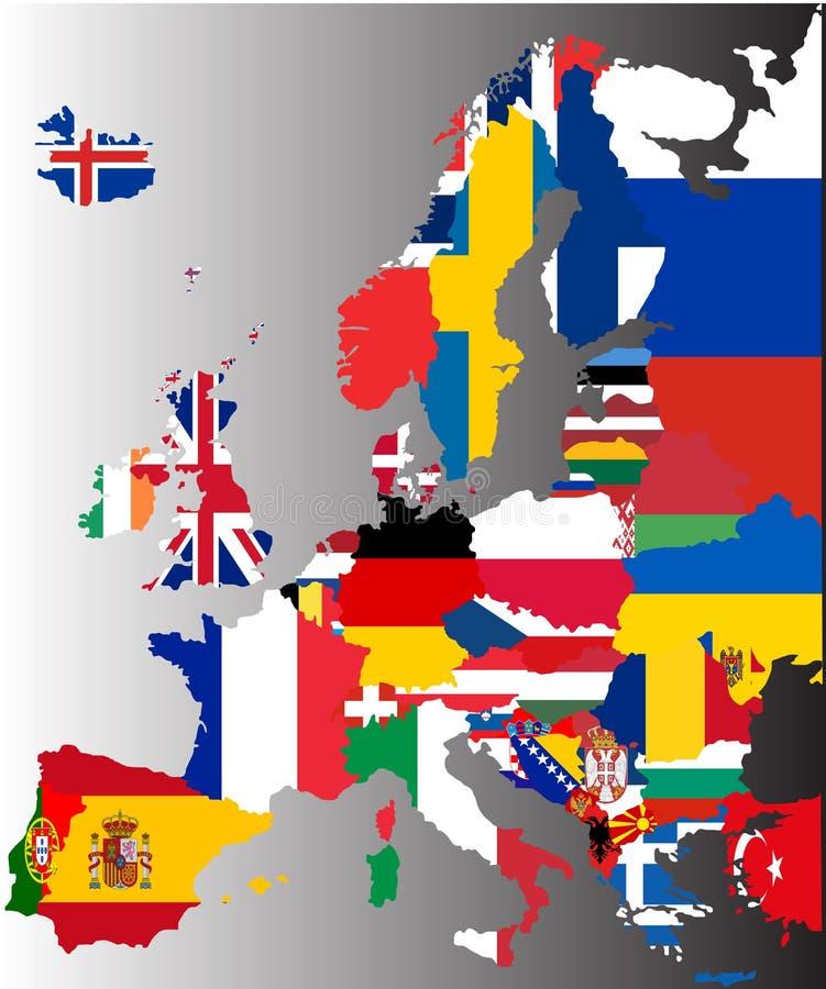 Färgad översikt av Europa med nationsflaggor arkivfoton