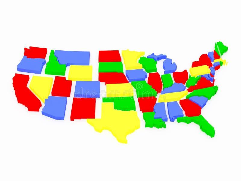 färgad översikt mång- USA stock illustrationer