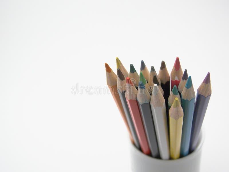 färgad blyertspenna royaltyfri fotografi