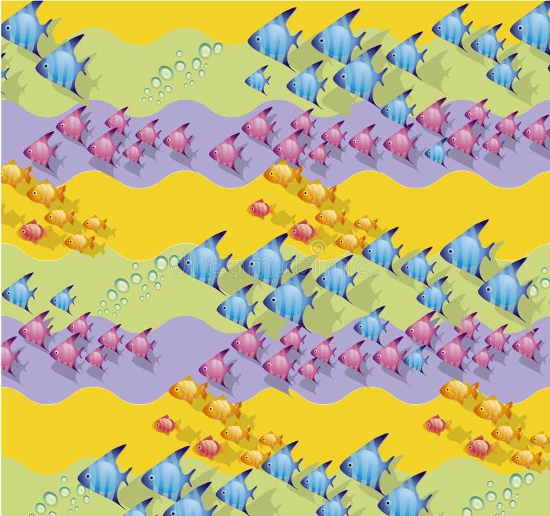 färgad fisk stock illustrationer
