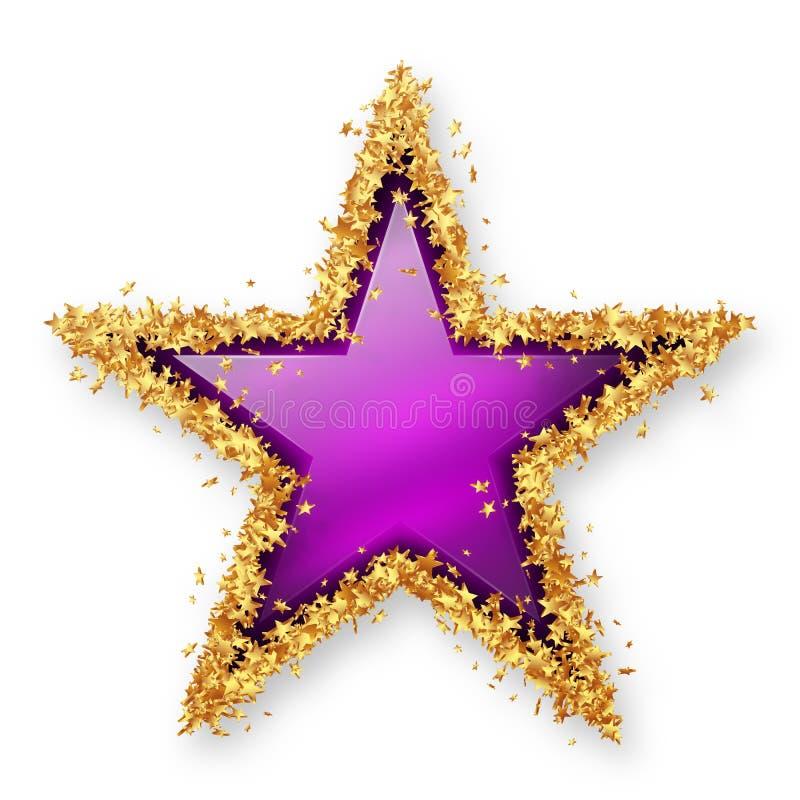Färgad Gemstonestjärna för purpurfärgad ametist med den guld- ung stjärna Borde royaltyfri illustrationer