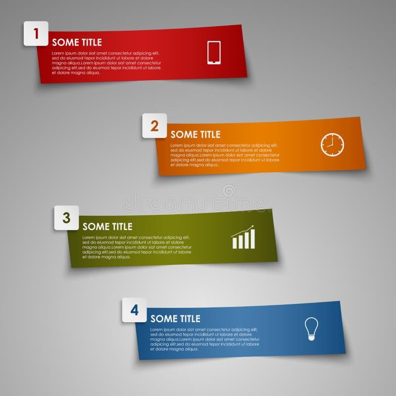 Färgad gjord randig pappers- mall för information diagram stock illustrationer