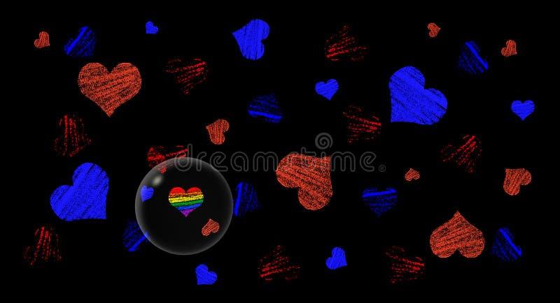 Färgad hjärtabakgrund royaltyfri illustrationer
