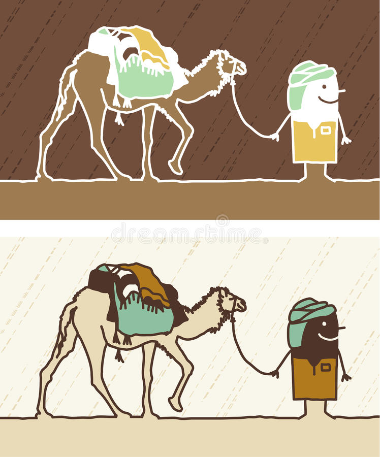 färgad kameltecknad film vektor illustrationer