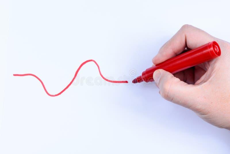 Färgad linje och penna arkivfoton