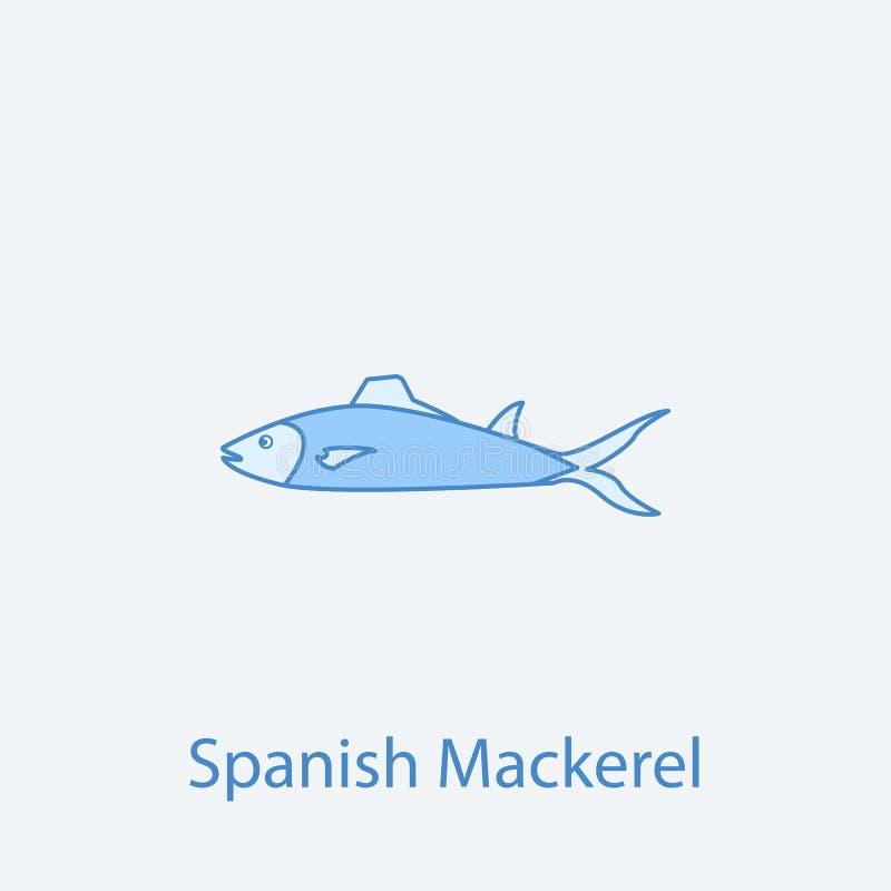 färgad linje symbol för spansk makrill 2 Enkelt ljus och mörker - blå beståndsdelillustration för begreppsöversikt för spansk mak vektor illustrationer