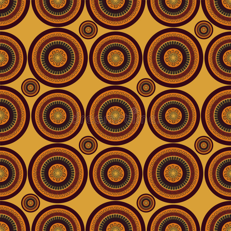 Färgad mandala för vektor abstrakt begrepp i afrikansk stil seamless modell vektor illustrationer
