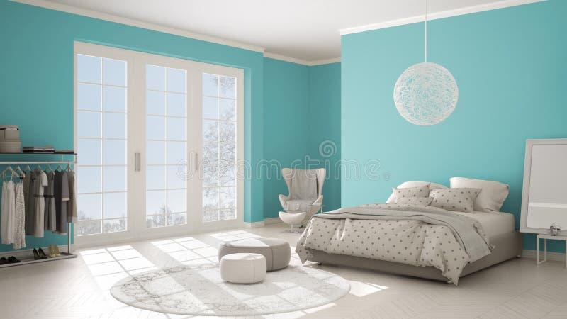 Färgad modern turkos och beige sovrum med träparkettgolvet, det panorama- fönstret på vinterlandskap, matta, fåtölj och royaltyfri bild