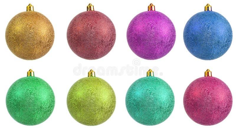 färgad prydnad för jul samling royaltyfria bilder
