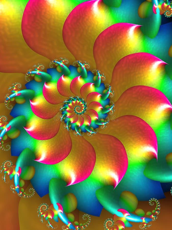 Färgad spiral Fractaldesign royaltyfri illustrationer