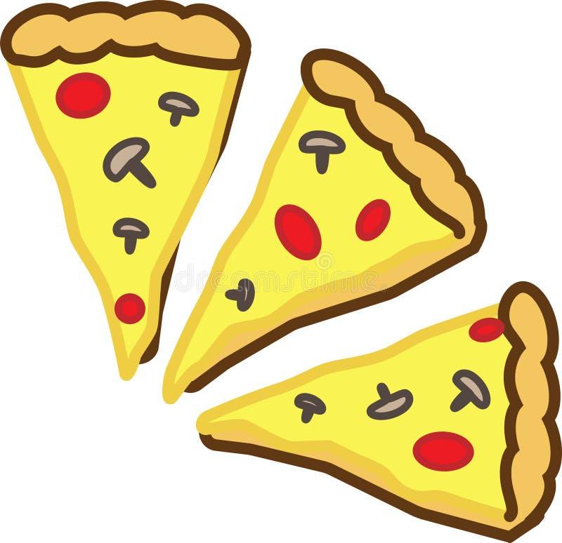 Färgad symbol av tre stycken av pizza med tomater, ost och champinjoner stock illustrationer