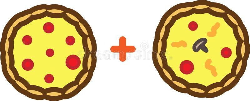 Färgad symbolspizza plus pizza med tomater, ost och champinjoner stock illustrationer