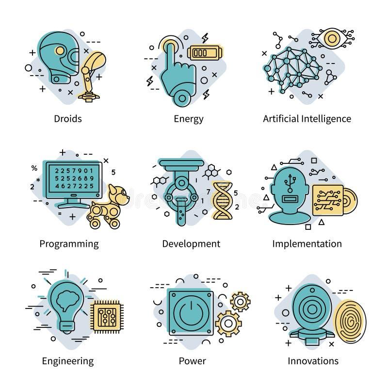 Färgad symbolsuppsättning för konstgjord intelligens vektor illustrationer