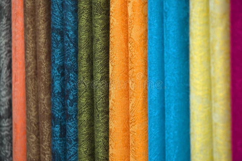 färgad textil royaltyfria foton