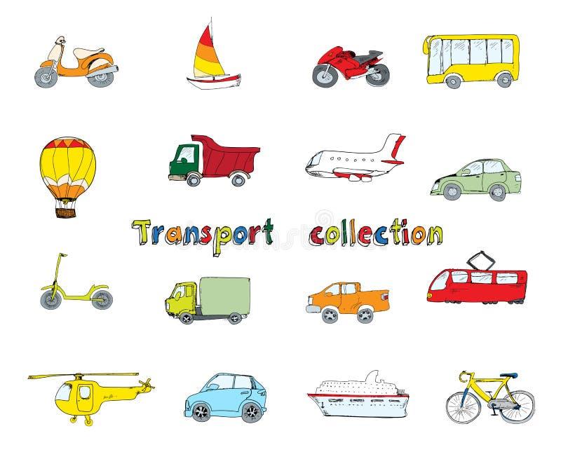 Färgad transportklotteruppsättning vektor illustrationer