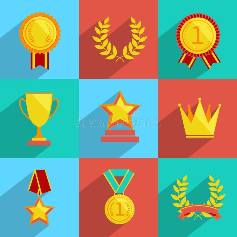 Färgad utmärkelsesymbolsuppsättning stock illustrationer