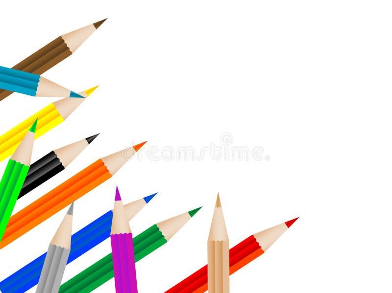 färgade blyertspennor royaltyfri illustrationer