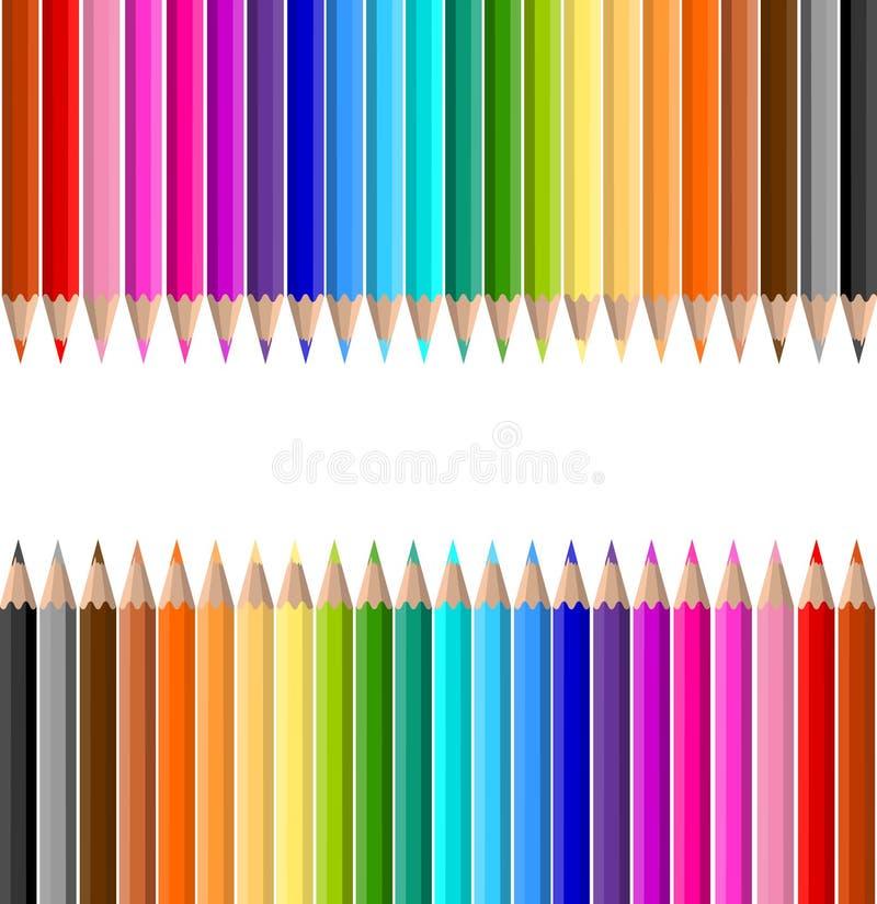 färgade blyertspennor vektor illustrationer