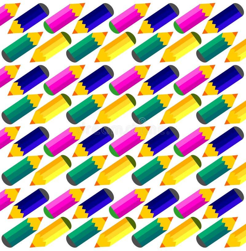 färgade blyertspennor för bakgrund stock illustrationer