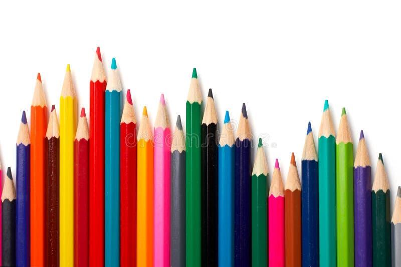 färgade blyertspennor för sortiment arkivbild