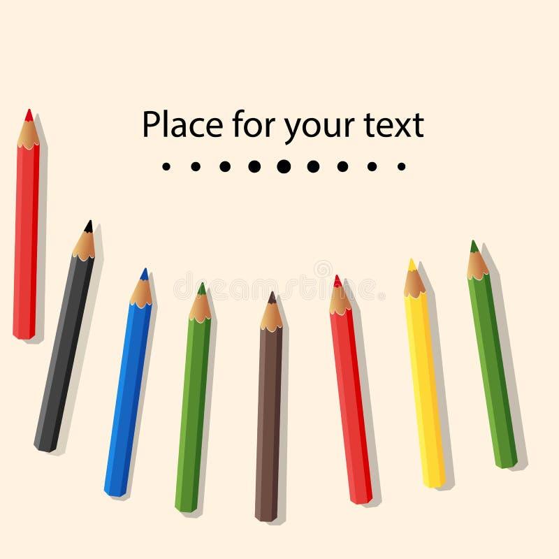 Färgade blyertspennor som isoleras på ljus bakgrund placera text Behandla som ett barn färgrika kulöra blyertspennor också vektor royaltyfri illustrationer
