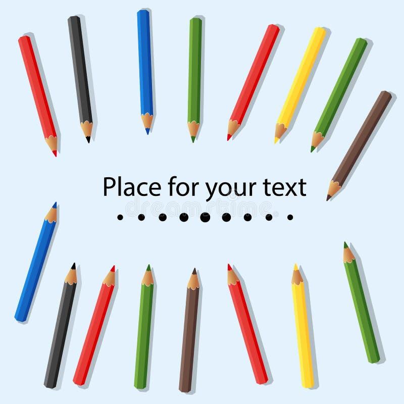 Färgade blyertspennor som isoleras på ljus bakgrund placera text Behandla som ett barn färgrika kulöra blyertspennor också vektor stock illustrationer