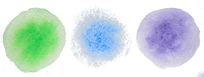färgade cirklar Handgjord abstrakt vattenfärg royaltyfri fotografi