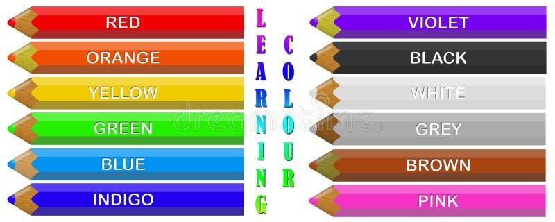 färgade crayons stock illustrationer