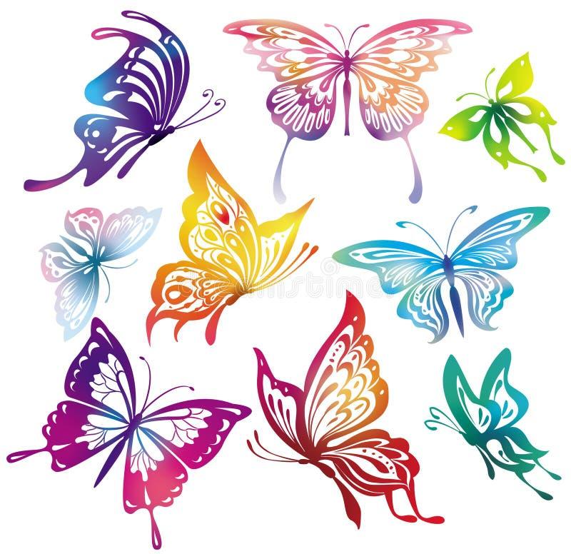 färgade fjärilar vektor illustrationer