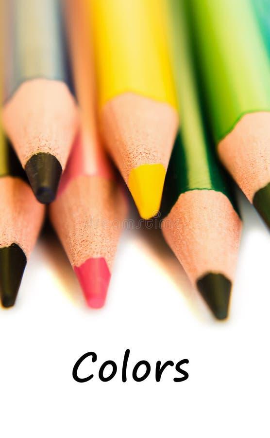 färgade isolerade blyertspennan för bakgrund pencils den färg white Textfärger fotografering för bildbyråer
