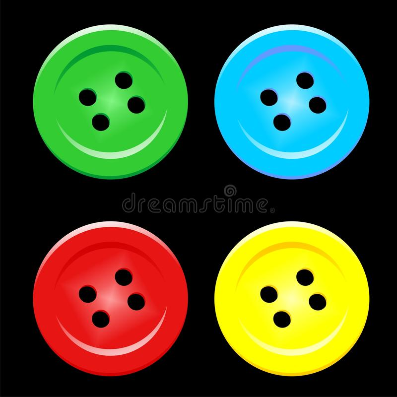 färgade knappar stock illustrationer