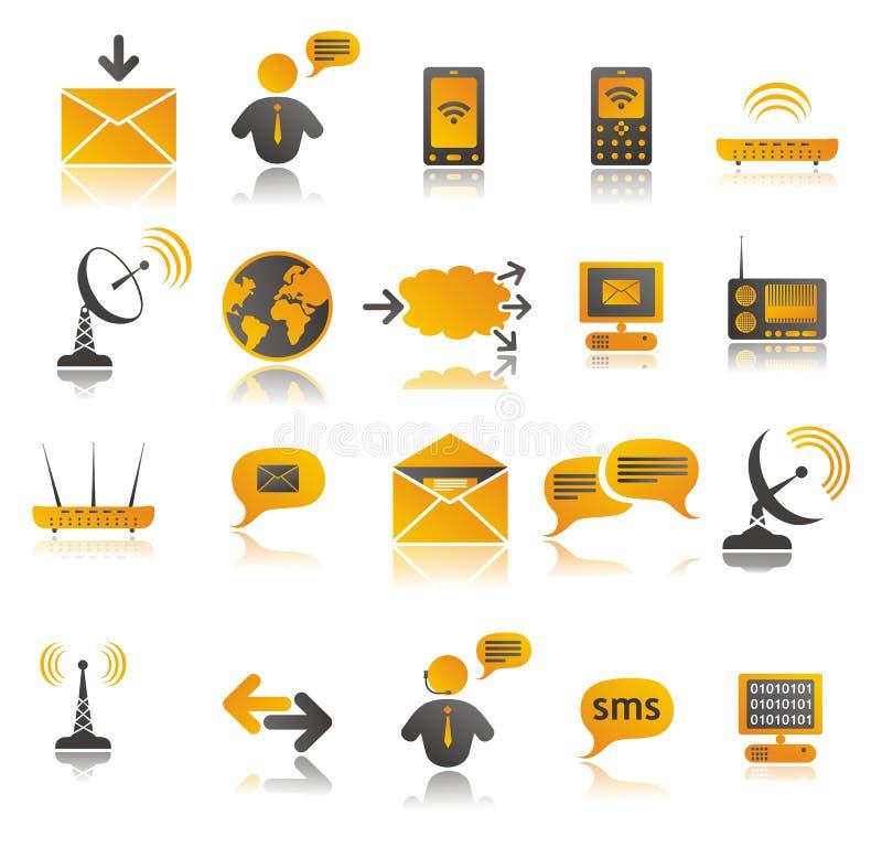 färgade kommunikationssymboler ställde in rengöringsduk stock illustrationer