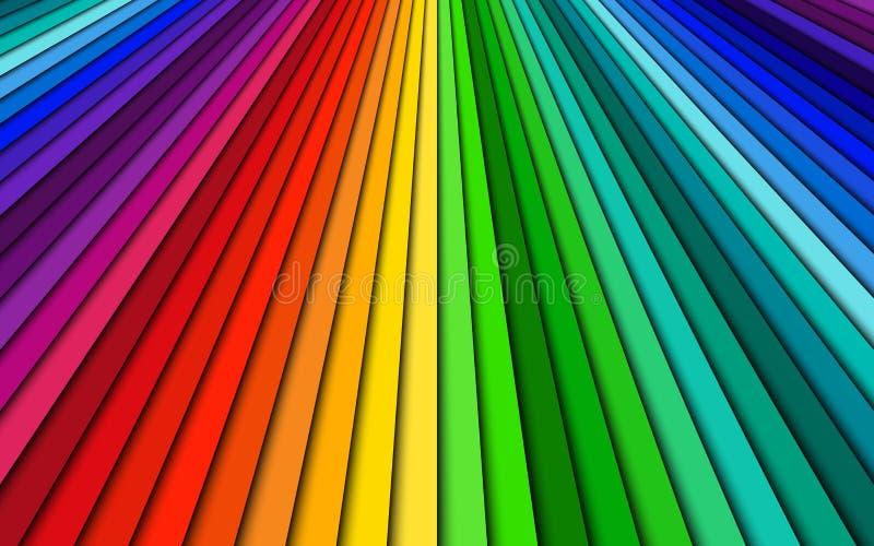 Färgade ljust abstrakt bakgrund, spektrumlinjer, den ljusa modellen, enkel illustration royaltyfri illustrationer