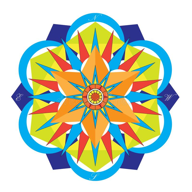 Färgade Mandala Compass vektor illustrationer