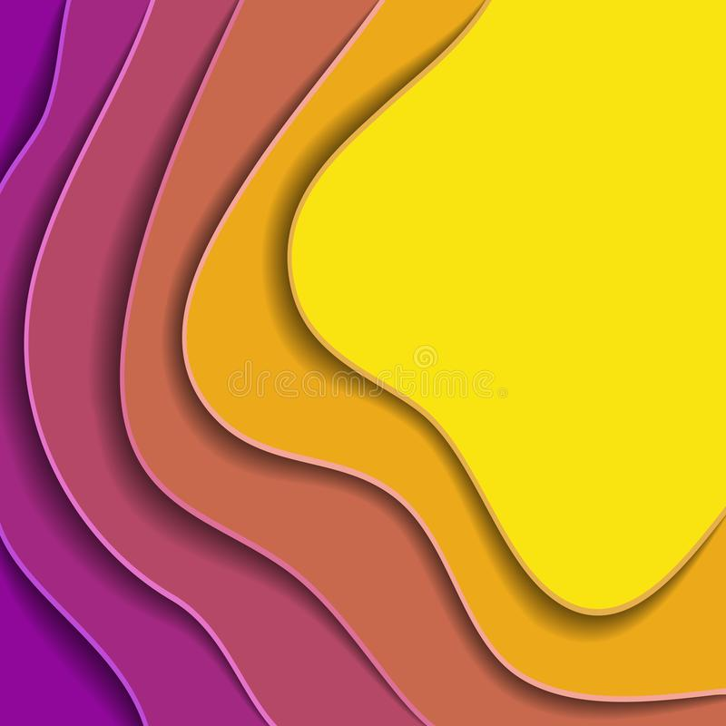 Färgade pappers- vågor, textur för bakgrund 3D av lager av djup vektor illustrationer