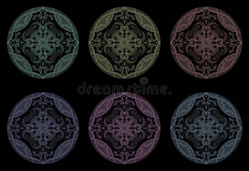 Färgade penneffekter Illustration mandala multicolor Sammanfattning Decorativt element royaltyfri fotografi