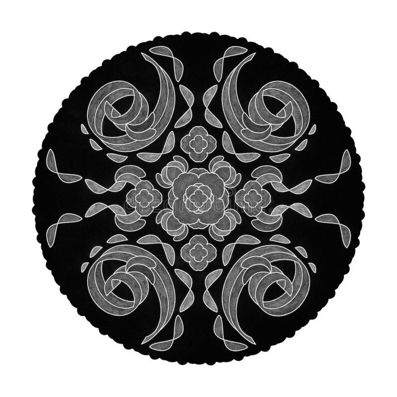 Färgade penneffekter Illustration mandala svart, vit och grå Spiral abstrakt Decorativt element arkivbilder
