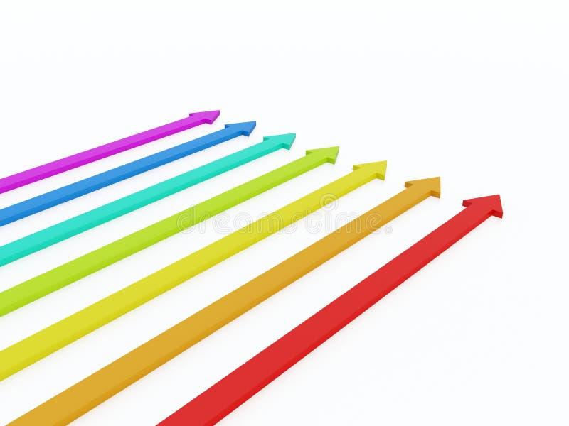färgade pilar stock illustrationer