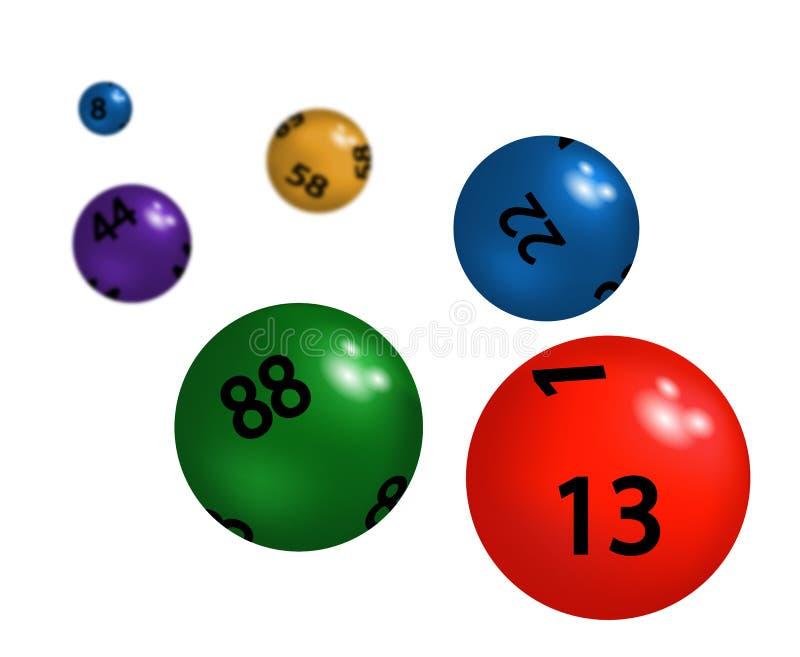 Färgade plast- sfärer för lotteri vektor illustrationer