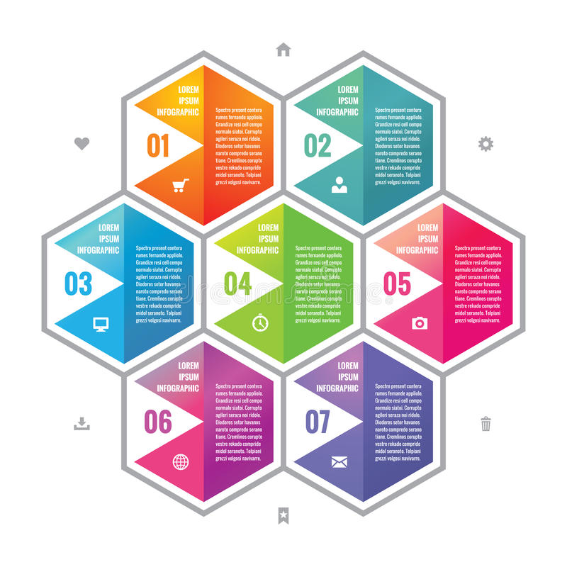 Färgade sexhörningskvarter för affär planlägger det infographic begreppet i plan stil Moment eller numrerade infographic vektorkv vektor illustrationer