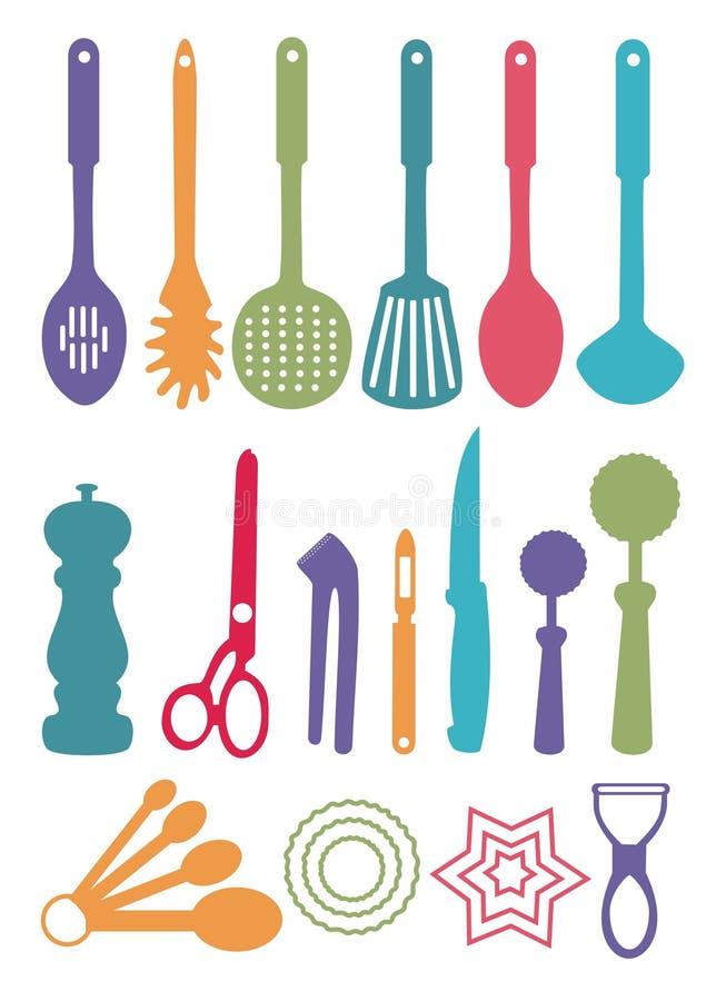 färgade utensils stock illustrationer