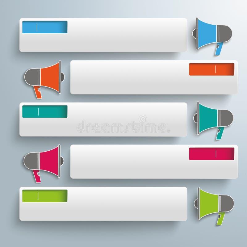 Färgade vita rektanglar spela golfboll i hål megafon 5 stock illustrationer