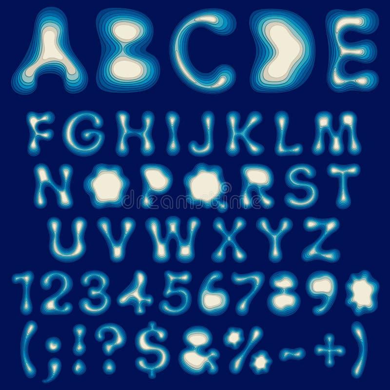 Färgalfabet, bokstäver och nummer från lager Uppsättning av isolerade objekt royaltyfri illustrationer