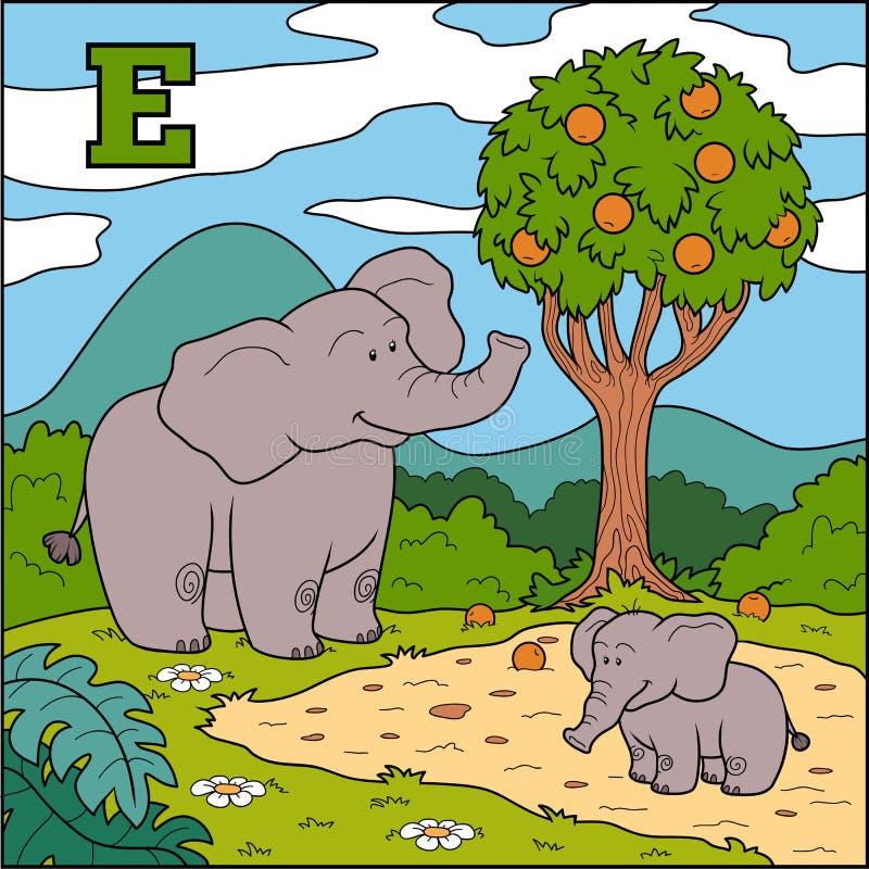 Färgalfabet för barn: bokstav E (elefant) stock illustrationer